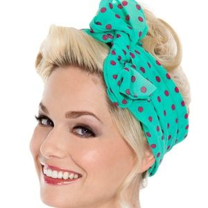 Tatyana Rockabilly Hair Scarf Turquoise Pink Dots